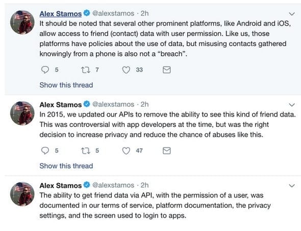 Alex Stamos Tweet regarding the situation of leaked personal information