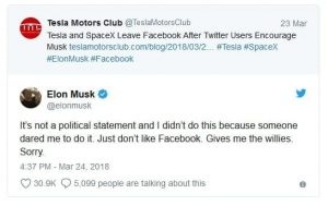 Elon Musk's tweets about Facebook Boycott