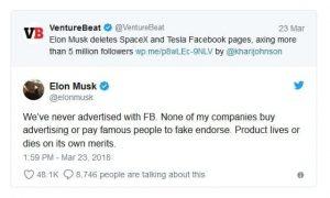 Another Elon Musk Tweet regarding Facebook Boycott